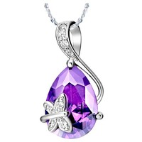 White Gold Plated Butterfly Teardrop Swarovski Elements Crystal Pendant Necklace - Violet Purple