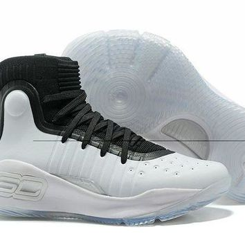 VONE4TH VAWA Men's Under Armor Curry 4 Basketball Shoes White Black