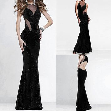 Womens Sexy See Through Backless Dresses Elegant Fashion Sleeveless Bodycon Female Dress