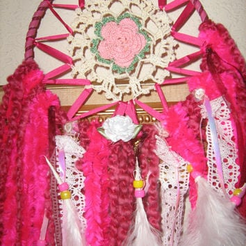 Rhubarb and Roses Dreamcatcher, handcrafted crochet doily dream catcher with streamers, lace,ribbon,yarn,feathers,silk ribbon weaved,leather