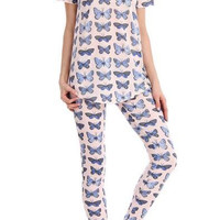 Pink Butterfly Printed Tee and Legging Pajama Set
