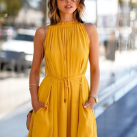Summer Womens Yellow Bandage Dress +Necklace