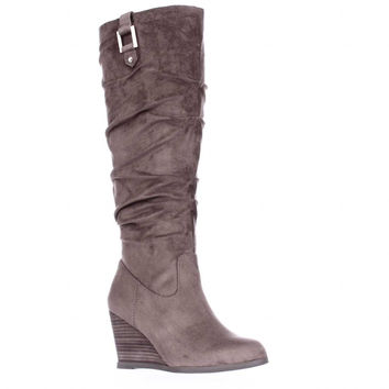 Dr. Scholls Poe Wedge Slouch Boots - Stucco
