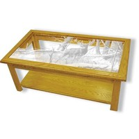 """After the Season"" Deer Etched Glass Art Coffee Tables"
