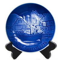 Bing Grondahl 1976 Cobalt Blue and White Christmas Welcome Plate B&G, Kjobenhavn, Denmark