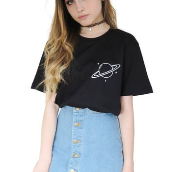 Saturn Planet T-shirt Tumblr Inspired Pastel Pale Grunge Aesthetic Space Alien Galaxy Tee