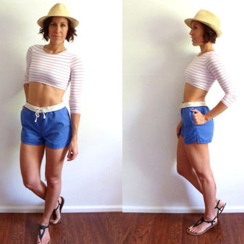 Vintage Sailor Shorts Midshipman Sport Drawstring Pockets Preppy Shorts