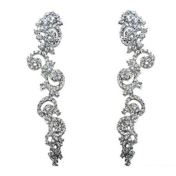 Rosalina Art Deco Swirls Linear Chandelier Earrings | 8ct | Cubic Zirconia | Silver