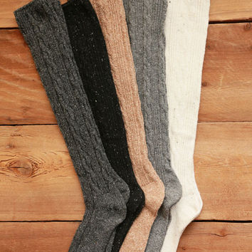 Wool Blend Cable Knit Knee High Socks - Beige, Black, Charcoal, Grey, Ivory