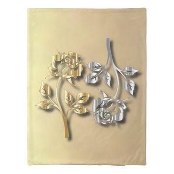 Two Golden And Silver Roses With Shadows Duvet Cover