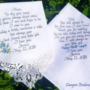 what to write in a wedding card, give them a keepsake that last a lifetime, mother and father of the bride embroidered wedding handkerchiefs