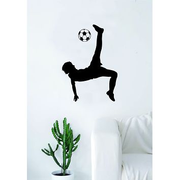 Soccer Player V4 Wall Decal Sticker Art Vinyl Home Decor Living Room Bedroom Sports Futbol Fifa Ball Kick Goalie