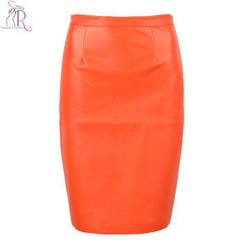 Spring New Arrival PU Leather High Waist Back Zipper Midi Tight Pencil Casual OL Skirt 3 Colors Black Red Pink