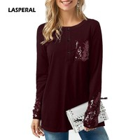 LASPERAL 2018 Autumn Women Long Sleeve Slim T shirts With Pocket Sequins Button Slim Basic Top Tees Vintage Fashion Tshirt New