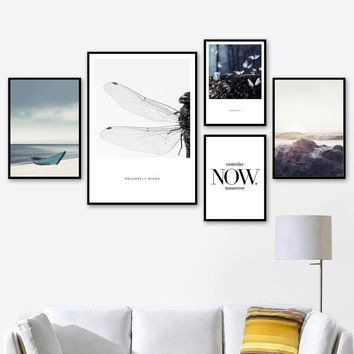 Sea Mountain Dragonfly Landscape Quotes Wall Art Canvas Painting Nordic Posters And Prints Wall Pictures For Living Room Decor