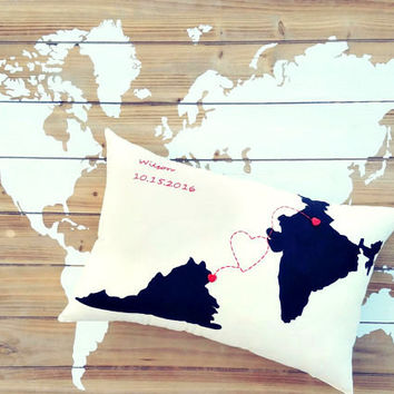Love Connection State & Country Custom Throw Pillow, Decorative Pillow,Dorm Decor, Foreign Exchange Gift, Friendship Gift, Housewarming Gift