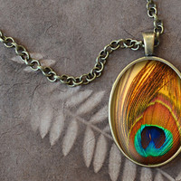 Peacock Feather Necklace, Peacock Pendant, Peacock Feather Charm, Oval Necklace (1494B)