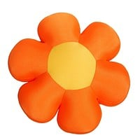 DaDa Bedding Squishy & Soft Flower Throw Micro-Bead Cushion Pillow - Orange - 18""