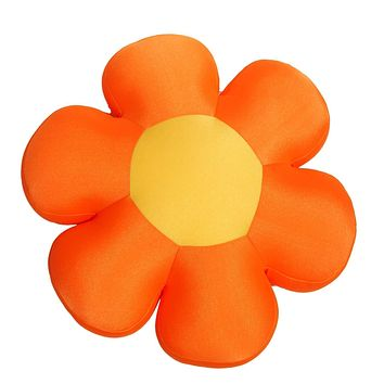 DaDa Bedding Fun Cute Squishy & Soft Flower Throw Micro-Bead Cushion Pillow - Orange - 18""