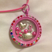 In Memory Of Breast Cancer Awareness Floating Charm Memory Locket