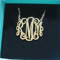 18k Gold Plated 3 Initial Monogram Necklace-Handmade Monogram Necklace In Silver-Custom Initial Monogram-Rose Gold Personalized Monogram