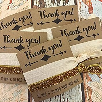 "Set of 5 ""Thank you"" Hair Tie Favors (Solid Ivory, Gold Glitter) 
