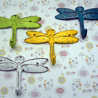 Dragonfly Cast Iron Mini Set 4 Wall Hooks Shabby Style Chic Lime Green White Teal Blue Yellow Leash Key Potholder Potting Shed Pool Hooks