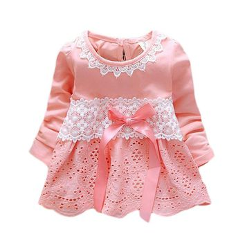 Long Sleeve Baby Girls Dress Lace Flower 1 Year Birthday Party Dress Bow Sweet Newborn Princess Dress Cotton Infant Girl Clothes
