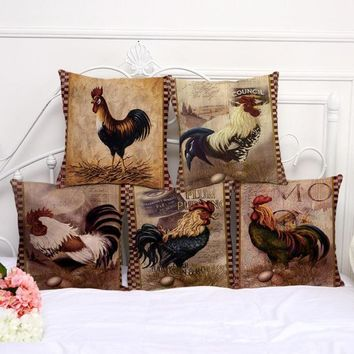 45*45 Cm Home Decorative Printing Cotton Linen Chicken Pillow