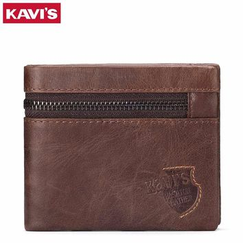 KAVIS Brand Crazy Horse Genuine Leather Wallet Men Wallets Coin Purse with Card Holder Mini Male with Bag Portomonee Small Walet