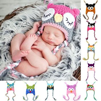 Cute Crochet Custom Handmade Baby Hat Owl Newborn Photography Prop