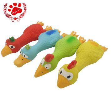 My pet Brand high quality 1pcs 100% latex rubber novelty eagle chicken duck funny gadgets pet squeak toys baby 4 color VP-PT1011