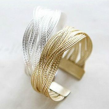 Gold/Silver Plated Alloy Knitted Twisted Metal Rattan Cuff Bangle Bracelets