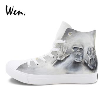 Wen Cool Skull Zombie Style Hand Painted Shoes Canvas Graffiti Painting Sneaker for Men Women Original High Top Shoes Plimsolls