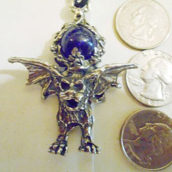 bling pewter goregyle monster crystal ball ancient gothic celtic druid pagan myth fantasy mythology mystical magic satan beast devil pendant charm leather 30 inch cord necklace jewelry hip hop