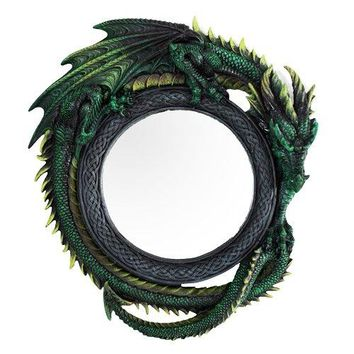 "Gothic 11.75"" Tall Jade Pagoda Green Intertwined Dragon Round Wall Mirror Plaque Home Decor"
