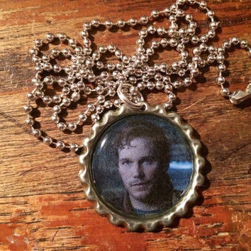 Starlord Peter Quill Guardians of the Galaxy Chris Pratt face bottlecap necklace