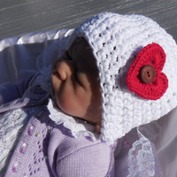 3 - 6 months Baby Crochet Hat, Crochet Red Heart Baby Hat, White Cotton Crochet Hat, Cotton Crochet Beanie, Crochet Flower Accents