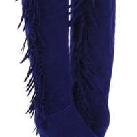 Blue Faux Suede Fringe Side Mid Calf Low Wedge Boots
