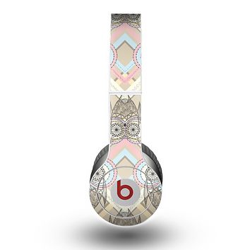 The Vintage Abstract Owl Tan Pattern Skin for the Beats by Dre Original Solo-Solo HD Headphones