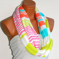 Infinity Scarf,Loop Scarf,Circle Scarf, textile Multi-color Scarf,Cowl Scarf,Nomad Cowl....striped scarf...