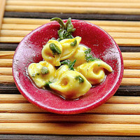 Tortelloni with butter and sage made by grandmother - Miniature stuffed pasta Italian 1:12 dollhouse