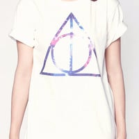 Deathly Hallows Galaxy Harry Potter Movie Symbol Women Short Sleeve T Shirts White Tee Shirts Men Shirts Women Unisex T-Shirt Size M L XL