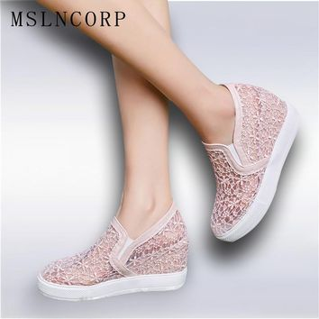 Plus size 34-45 Summer Women Sandals Lace Hollow Floral Casual Shoes Woman Breathable Platform  Increased Internal Loafers Shoes