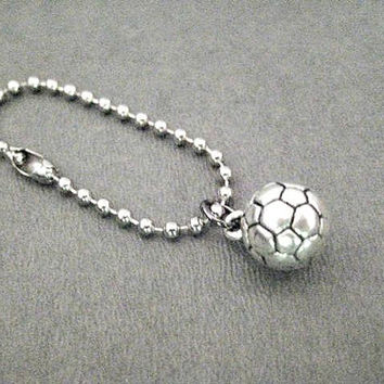 SPORT Key Chain / Bag Tag - 4 inch Stainless Ball Chain or Traditional Round Key Ring - Football - Tennis - Soccer - Dance - Gym - Barbell