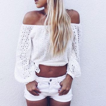 2016 New Women Off Shoulder Blouse Summer White Long Sleeve Crochet Hollow Out Eyelet Top