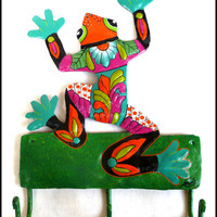 "Colorful Frog Wall Hook - Painted Metal Tropical Home Decor - 8 1/2"" x 12"""