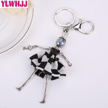 Ylwhjj Brand 2017 New Women Lovely Black Dress Bag Doll Keychain Girl Key Chain Car Pendant Metal Resin Baby Hot Fashion Jewelry