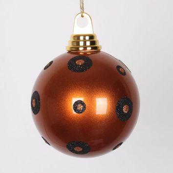 "Candy Copper with Black Glitter Polka Dots Christmas Ball Ornament 4.75"" (120mm)"