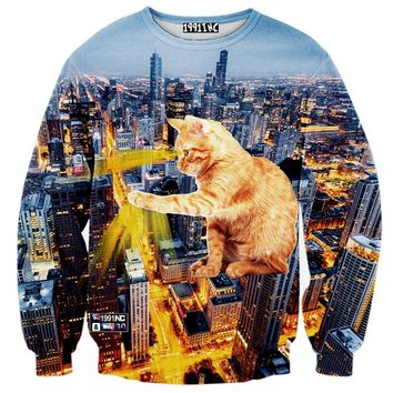 Kitty Catzilla City Lights All Over Graphic Print Pullover Sweater | Gifts for Cat Lovers